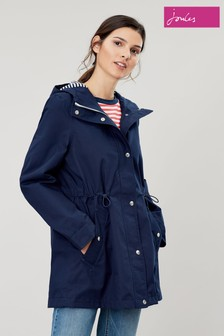 Joules Blue Shoreside Waterproof A-Line Coat