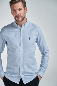 Stripe Long Sleeve Skinny Fit Stretch Oxford Shirt