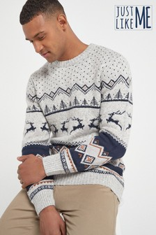Matching Kids & Dads Mens Christmas Stag Fairisle Pattern Jumper