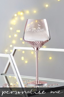 Personalised Rose Gold Wine Glass