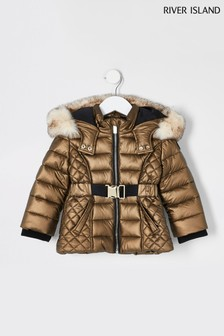River Island Bronze Metallic Belted Jacket