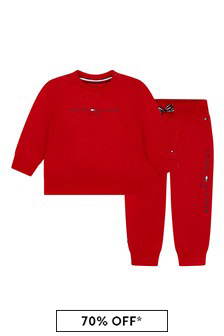 Tommy Hilfiger Baby Red Cotton Tracksuit