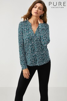 Pure Collection Animal Jersey Open V-Neck Blouse