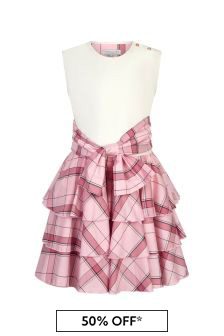 Girls Pink Circle Frill Dress