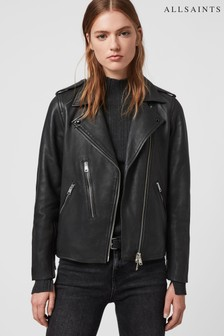 AllSaints Black Elva Leather Biker Jacket
