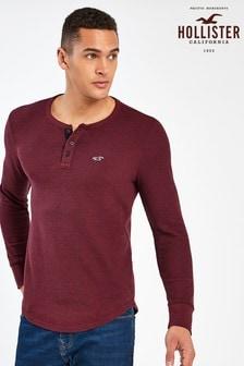 Hollister Burgundy Long Sleeve Waffle Henley T-Shirt