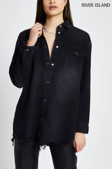 River Island Black Oversized Denim Shirt