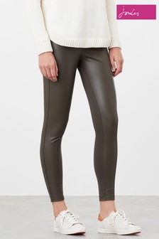 Joules Green Harriet Pleather/Jersey Mix Trousers