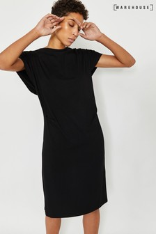 Warehouse Black Keyhole Back Midi Dress
