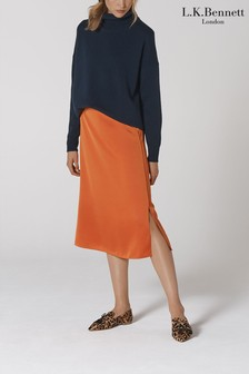 L.K. Bennett Orange Satin Skirt
