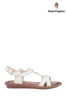 Hush Puppies Cream Olive Tstrap Buckle Strap Sandals