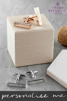 Personalised Coordinates Cufflinks by Treat Republic