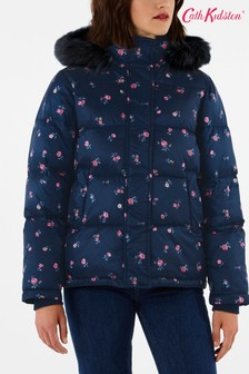 Cath Kidston Blue Spaced Somerset Ditsy Hooded Padded Coat