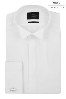 Moss London White Extra Slim Dobby Wing Collar Dress Shirt