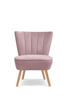 Ella Fluted Accent Chair With Natural Legs