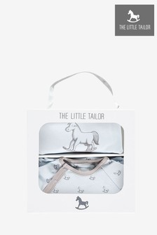 The Little Tailor Blue Jersey Sleepsuit & Bib Gift Set