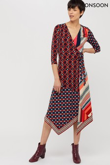 Monsoon Ladies Blue Kelsie Patch Print Midi Jersey Dress