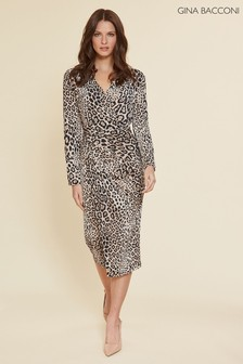 Gina Bacconi Animal Mirra Leopard Print Jersey Dress