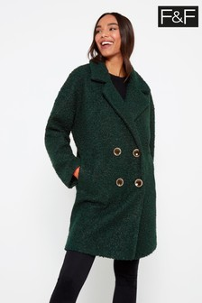 F&F Green Bouclé Snit Coat