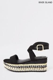 River Island Black Stud Wedge Flatform Sandals