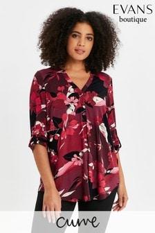 Evans Curve Pink Floral Jersey Shirt