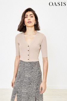Oasis Natural Rib Button Through Knitted Top