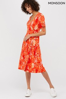 Monsoon Red Nigela Jersey Print Midi Dress