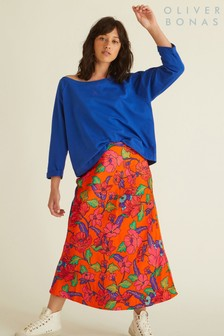 Oliver Bonas Orange Floral Bright Bias Skirt