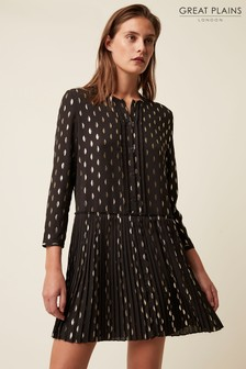 Great Plains Black Aida Foil Long Sleeve Round Neck Dress