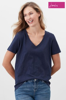 Joules Blue Celina Solid V-Neck T-Shirt