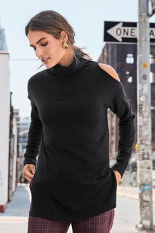 Cut Out Roll Neck Jumper