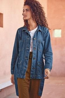 Jersey-Lined Denim Utility Jacket