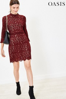 Oasis Red Lace Shift Dress