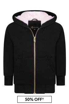 Moose Knuckles Girls Black Cotton Zip Up Top