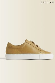 Jigsaw Cream Lenni Zip Front Trainers