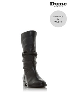 Dune London Wide Fit Black Rosalinda Ruched Calf Boots