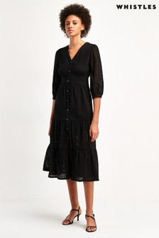 Whistles Black Sara Broderie Midi Dress