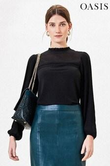 Oasis Black Pleat Sleeve Blouse