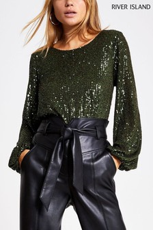 River Island Khaki Sequin Hayley Top