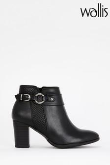 Wallis Black Anastasia Buckle Weave Panel Boots