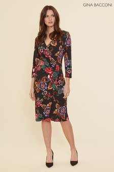 Gina Bacconi Black Cloris Floral Wrap Dress