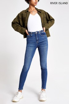 River Island Mid Auth Hailey Saddle Jeans