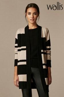 Wallis Black Stripe Wool Mix Cardigan