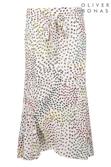 Oliver Bonas White Dreamy Dot Midi Skirt