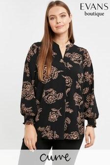 Evans Curve Black Floral Print Shirt