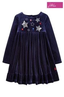 Joules Blue Victoria Velvet Soft Touch Appliqué Dress