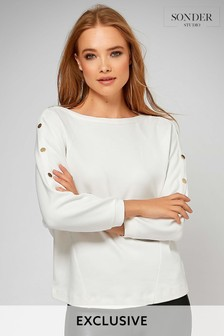 Sonder Studio Cream Popper Sleeve Top