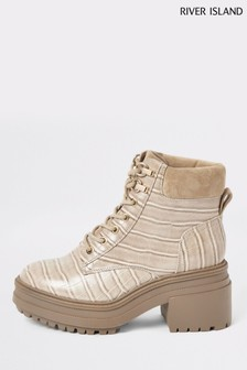 River Island Beige Scurry Lace-Up Chunky Boots