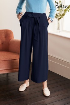 Boden Blue Melville Tie Waist Culottes