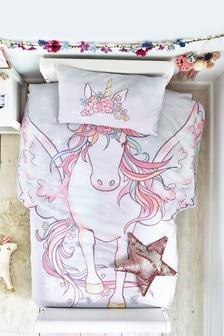 Shaped Unicorn Duvet Cover and Pillowcase Set
